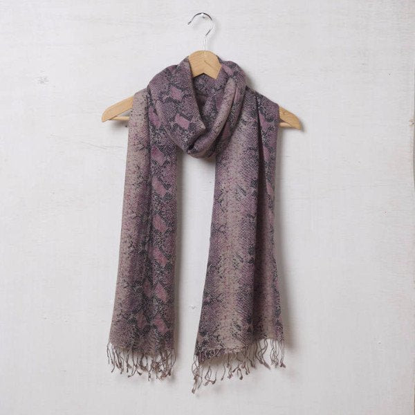 Pure Silk And Pashmina Scarf In Rose Pink Snakeskin 1421