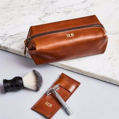 Leather Shaving Bag and Razor Cover
