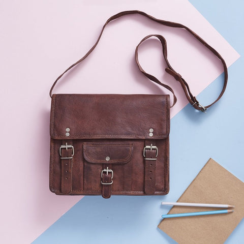 Small Leather Satchel with front pocket