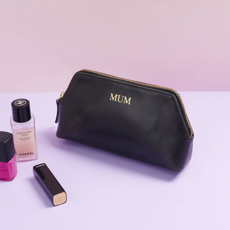 Solar Leather Cosmetic Case Black