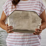 Solar clutch bag with message in silver