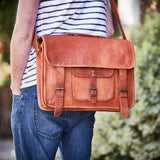 Vintage leather tan satachel laptop bag