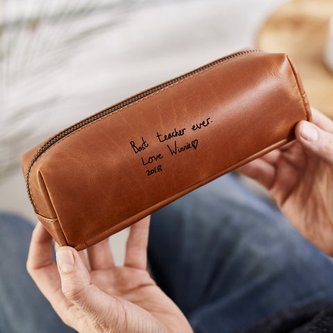 teacher present pencil case embossed in tan