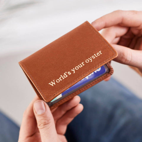 Leather Oyster Travel Card Holder in Tan with Gold embossing
