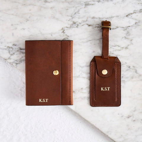 Personalised Luxe Leather Passport Cover and Luggage Tag Set in black