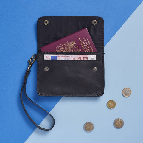 Leather Travel Wallet Black with coins