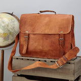 "Men's Leather Messenger Bag with handle grande 16"" size"