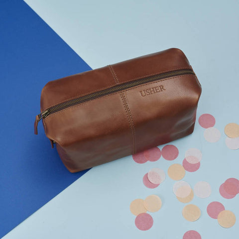 Usher Leather Wash Bag
