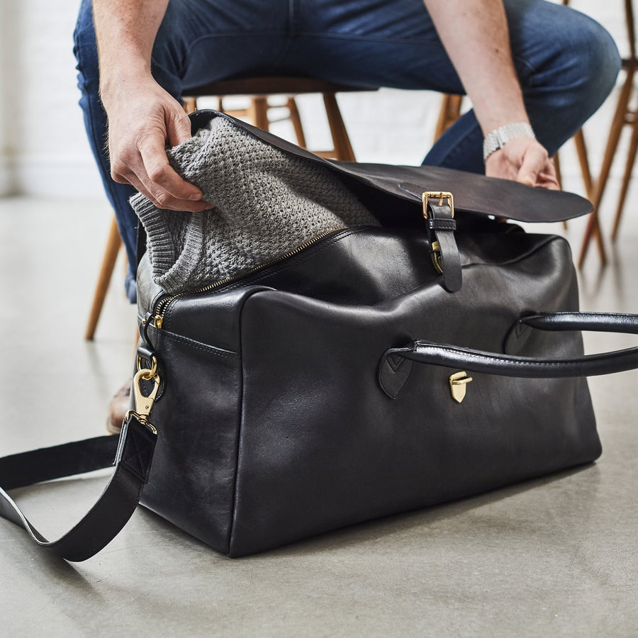 Black leather large gladstone bag