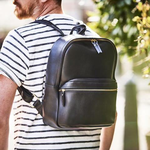Mens luxury leather backpack in black