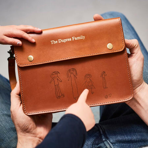 Personalised Tan Leather Family Travel Wallet with laser engraved drawing