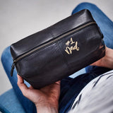 Fathers day leather washbag in black