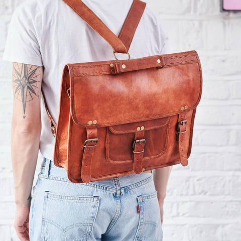 Convertible tan leather backpack and satchel