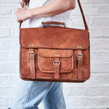 Vintage leather satchel messenger bag in tan
