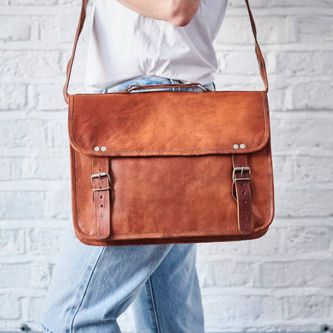 Tan leather shoulder bag with handle laptop bag