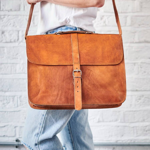 Leather satchel laptop bag tan brown