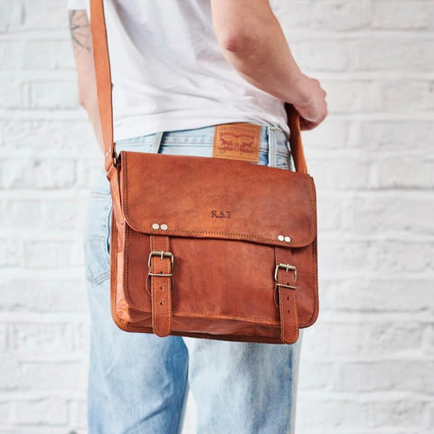 Midi medium leather satchel tan brown with embossed initials