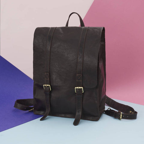 Wandering Soul Leather Backpack Dark Brown