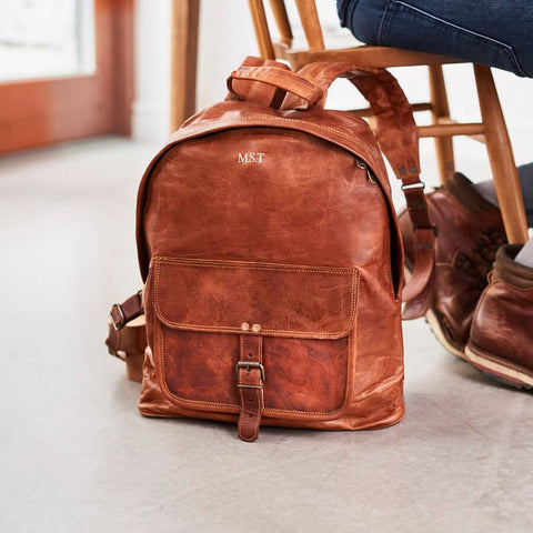 Vintage style tan leather backpack