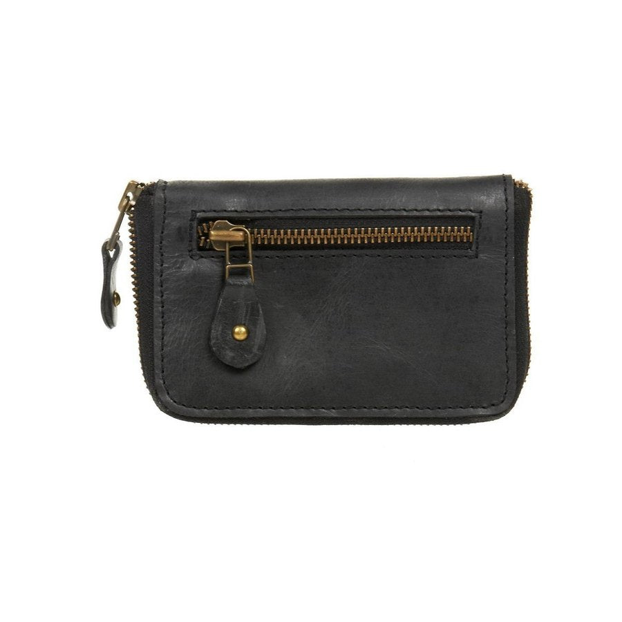 Black Leather wallet zip up