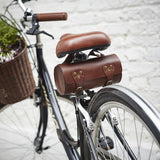 Tan Leather Bike Saddle Bag On Bike
