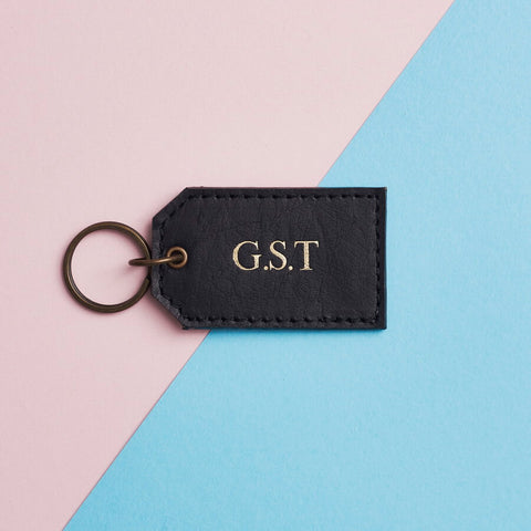 Black leather keyring with gold initials