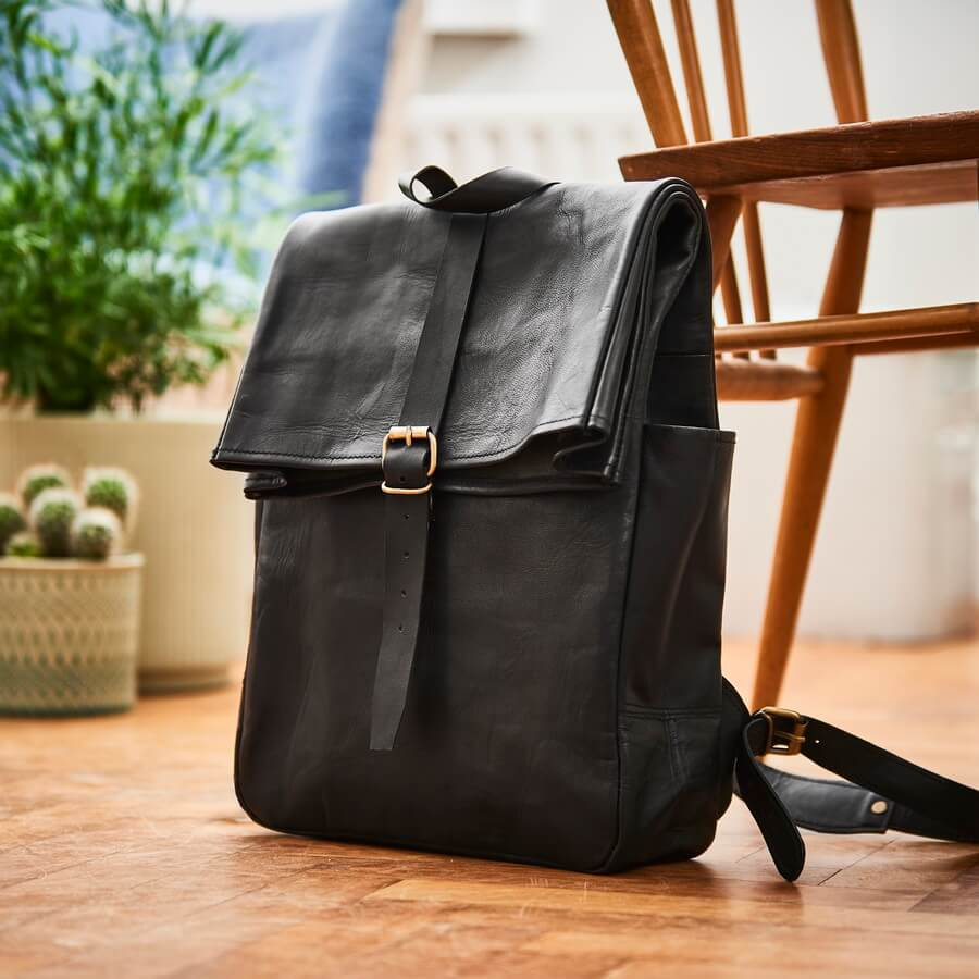 Black Men's Roll-top Leather Backpack