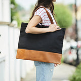 Large ladies tote bag in black canvas and tan leather
