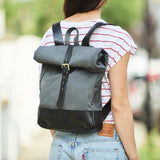 Roll top canvas and leather backpack in greay and black for men