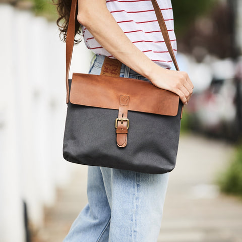 Womens messenger bag in grey and tan leather