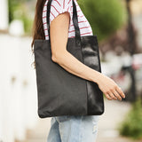 Vertical ladies tote bag in leather and canvas grey and black