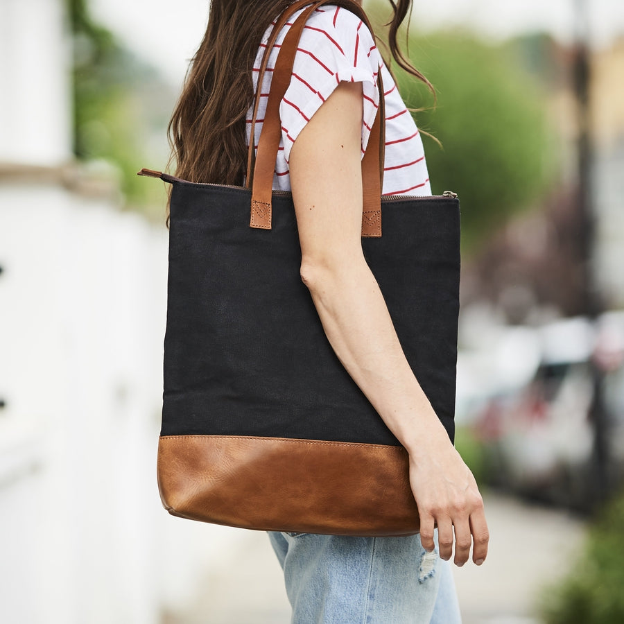 Personalised Leather and Canvas Tote Bag