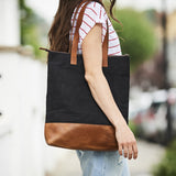 Brown leather and black canvas ladies tote bag with zip