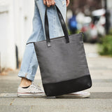 Black and grey canvas and leather tote bag