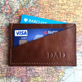 Leather Card Holder Dark Tan Contents