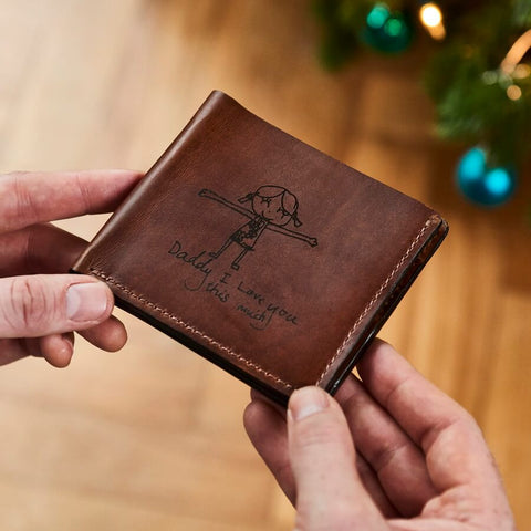 Personalised Leather Wallet With Child's Masterpiece