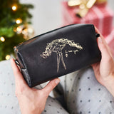Ladies leather wash bag in black with gold kids drawing