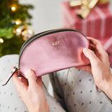 Pink initialed leather wash bag