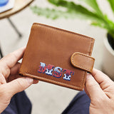 Personalised Leather Tri Fold Wallet With Circus Font