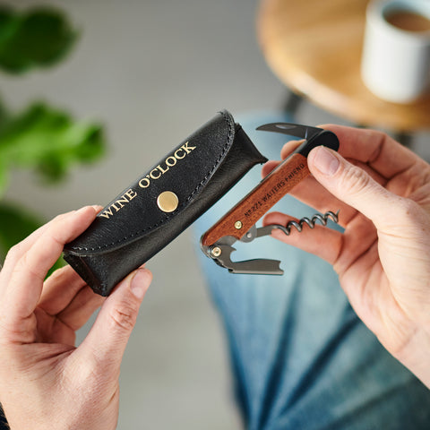 Personalised Leather Holder and Corkscrew Tool Black