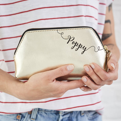 Gold make up small clutch bag