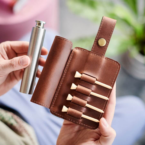 Leather Golf Tee Holder and Stainless Steel Hip Flask