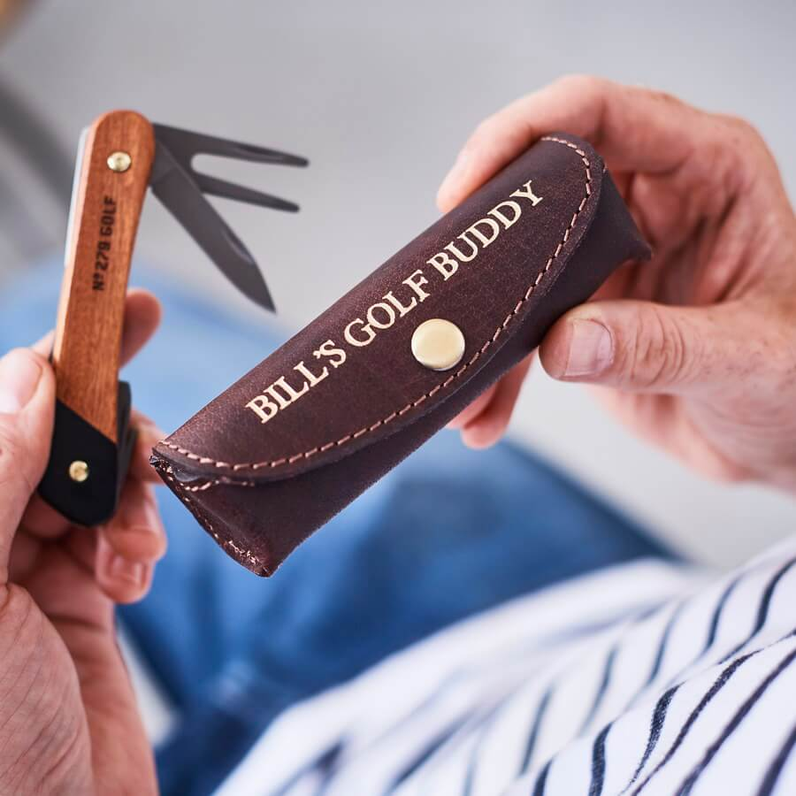 Personalised Leather Holder and Golf Tool - Dark Brown