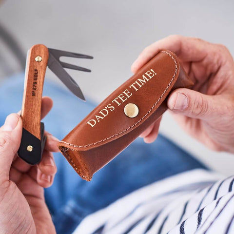 Personalised Leather Holder and Golf Tool - Tan