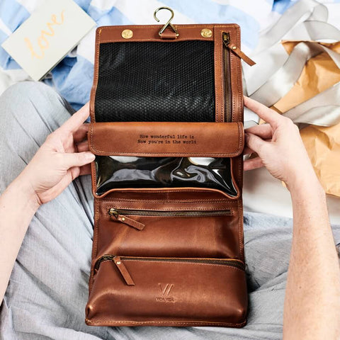 Leather Hanging Wash Bag With Secret Message