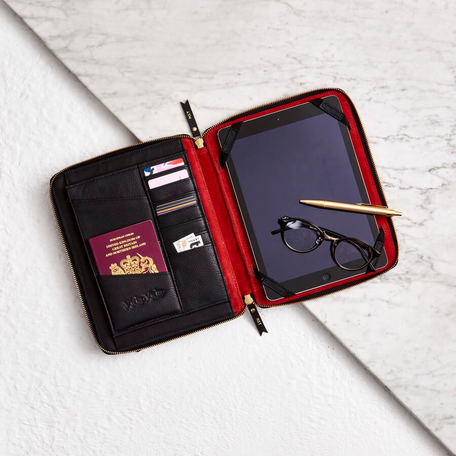 leather ipad organiser case in black leather with red lining