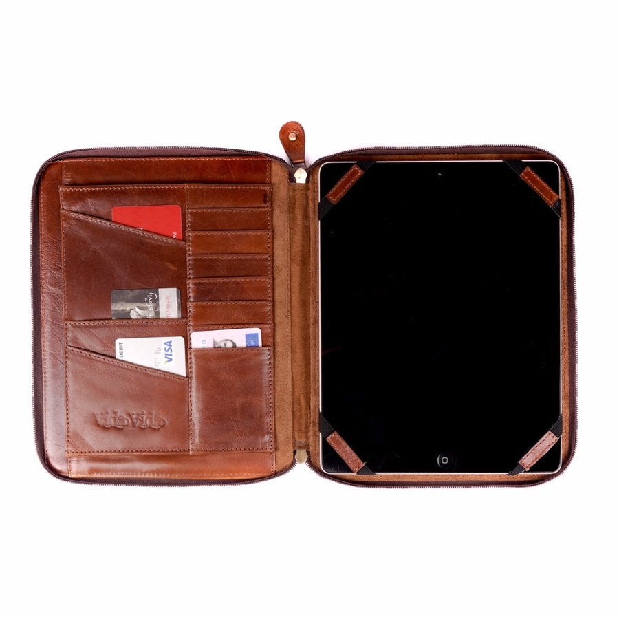 Tan Leather Ipad Organiser Case Open
