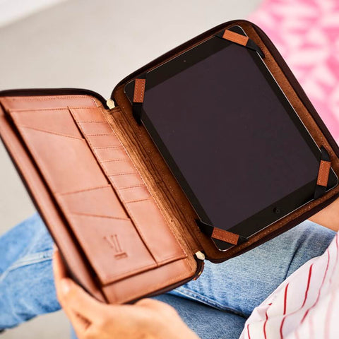 Tan leather iPad folder and organiser