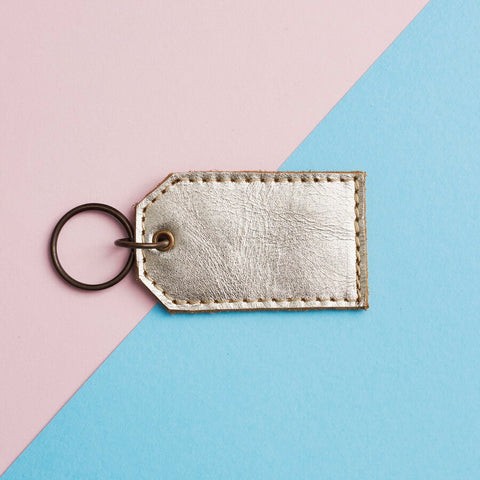 Metallic Leather Key Ring
