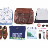 What fits inside a Mens Large Leather Travel Bag